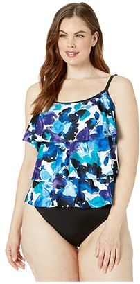 Maxine Of Hollywood Swimwear Waterflower Tiered Tankini Top (Multicolored) Women's Swimwear