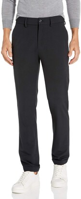 Kenneth Cole Reaction Men's Stretch Solid Drawstring Slim Fit Flat Front Flex Waistband Dress Pant