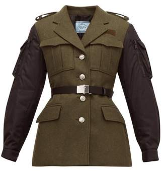 Prada Single-breasted Contrast-sleeve Wool Jacket - Womens - Green Multi