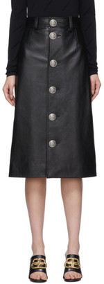 Balenciaga Black Leather Button-Down Skirt