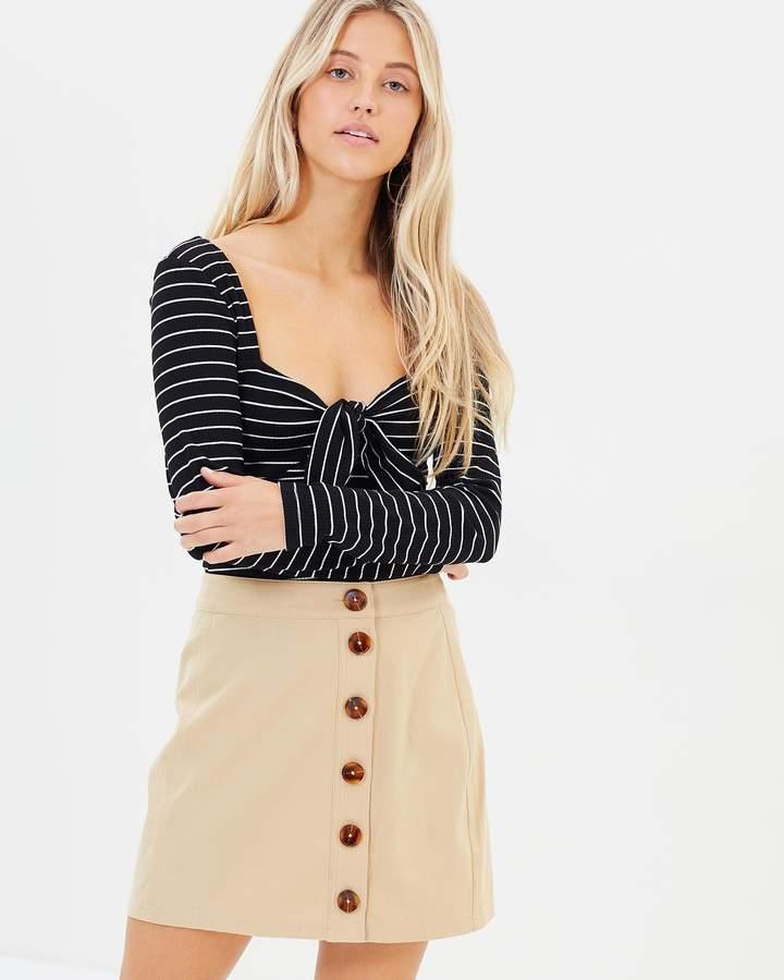 MinkPink Buttoned Mini Skirt