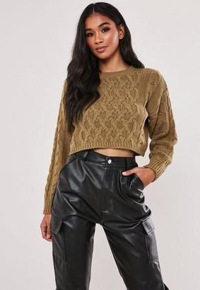 Missguided Camel Cable Knit Super Cropped Sweater