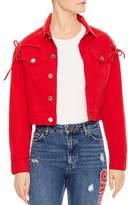 Sandro Hamza Lace-Up Denim Jacket