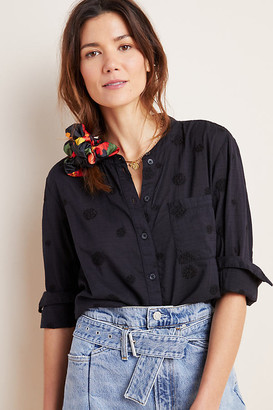 The Whitney Embroidered Trapeze Buttondown By Pilcro and the Letterpress in Black Size XS