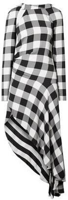 Monse Asymmetric Cutout Gingham Crepe Midi Dress