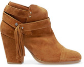 Rag & Bone Harrow Fringed Suede Ankle Boots - Tan
