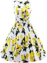 HongyuTing Classic 50s Audrey Hepburn Boat Neck Lemon printed Summer Swing Retro Vintage Dress