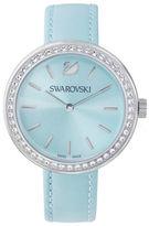Swarovski Daytime Pave Crystal Stainless Steel Leather Watch