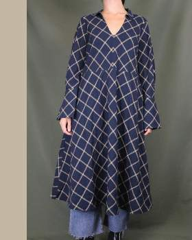 And Less - Cotton Casual Checkered Dress - cotton | M .