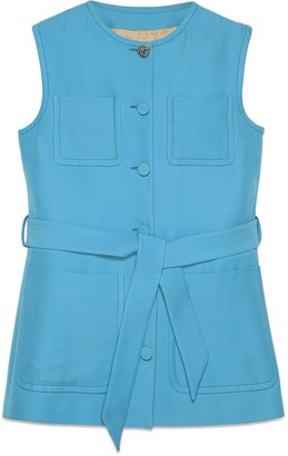 Gucci Wool silk vest with self-belt