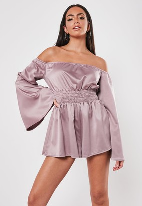 Missguided Rose Bardot Ruched Flared Sleeve Playsuit