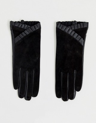 Barneys New York real leather and suede mix gloves with frill detail