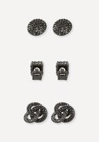 Bebe Black Crystal Earring Set