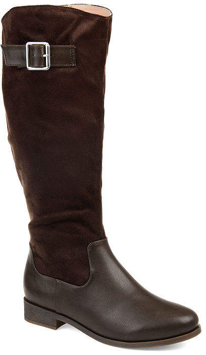 Womens Frenchy Extra Wide Calf Stacked Heel Zip Riding Boots