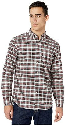 J.Crew Slim American Pima Cotton Oxford Shirt with Mechanical Stretch in Plaid (Merry Merry Plaid White/Red) Men's Clothing