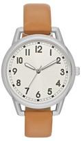 Full Arabic Dial Strap Watch with Wire Lugs - Silver/Brown