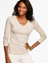 Talbots Long-Sleeve V-Neck Tee - Sparkle Stripes