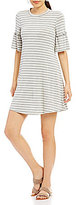 Moa Moa Striped Bell Sleeve Knit Shift Dress