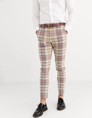 Asos Design DESIGN smart skinny wool mix trousers in brown check