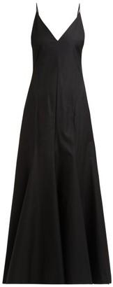 KHAITE Blair Tie Back Cotton Dress - Womens - Black