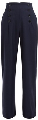 ODYSSEE Loti Wide-leg Wool Trousers - Navy