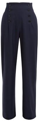Odyssee - Loti Wide Leg Wool Trousers - Womens - Navy