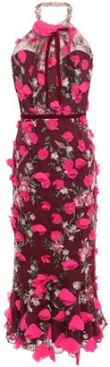 Marchesa Embellished Tulle Halterneck Midi Dress