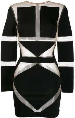 Balmain Geometric Mesh Mini Dress