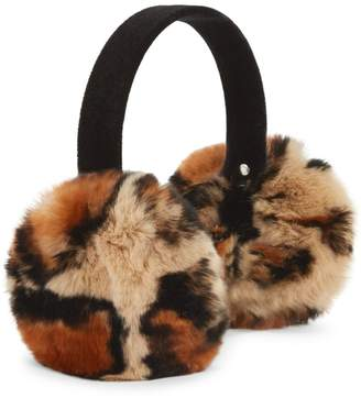 Surell Animal-Print Rex Rabbit Fur Ear Muffs