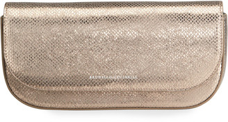 Brunello Cucinelli Laminated Snake-Embossed East/West Clutch Bag