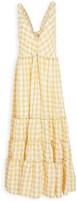 Free People Women's Casual Dresses YELLOW - Yellow Plaid Ruffle-Detail Tiered Maxi Dress - Women