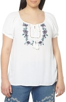Evans Embroidered Peasant Top (Plus Size)