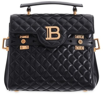 Balmain B-Buzz Quilted Leather Satchel