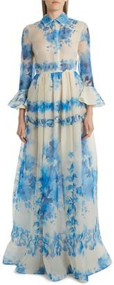 Valentino Delft Print Silk Organza Gown