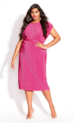 City Chic Baby Pleat Dress - magenta