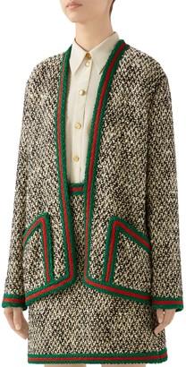 Gucci Braid Trim Wool Blend Tweed Jacket
