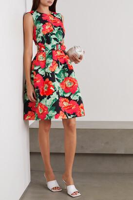 Oscar de la Renta - Belted Floral-print Faille Dress - Black