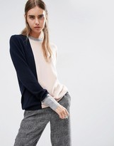 Asos 100% Cashmere Crew Neck Sweater In Color Block