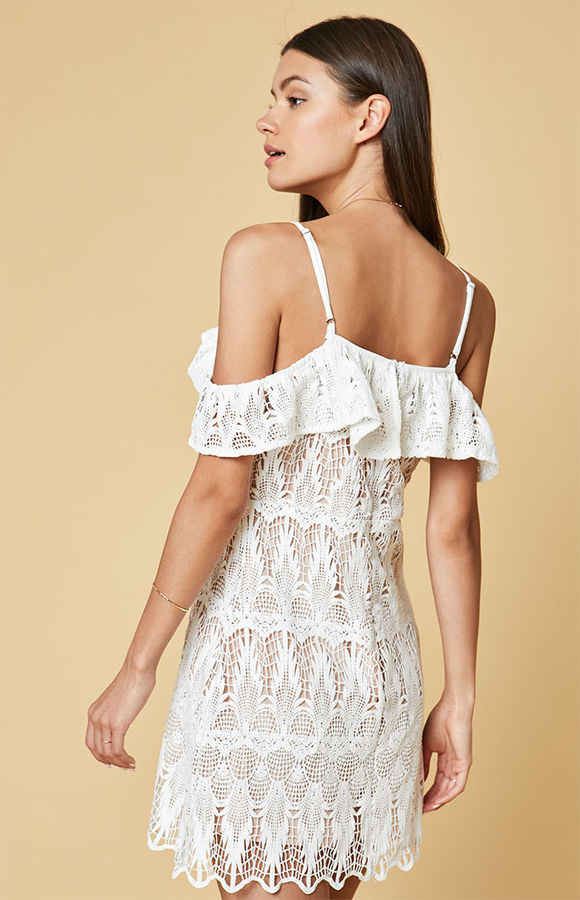 Lucca Couture Lace Off-The-Shoulder Ruffle Dress