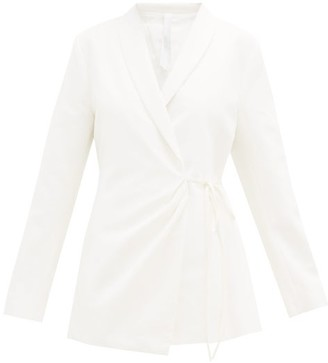 Merlette New York Vanda Shawl-lapel Cotton-twill Wrap Jacket - Ivory