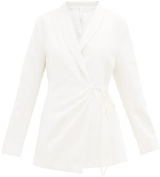 Merlette New York Vanda Shawl-lapel Cotton-twill Wrap Jacket - Womens - Ivory