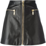 Kenzo zip through skirt - women - Cotton/Calf Leather/Acetate - 38