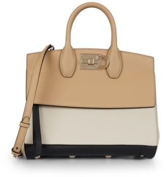 Salvatore Ferragamo Studio Tri-Color Leather Top Handle Bag