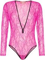 Natasha Zinko plunge-neck lace bodysuit