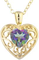 Elizabeth Jewelry Natural Mystic Topaz & Diamond Love Design Heart Pendant 14Kt Yellow Gold Plated Over .925 Sterling Silver