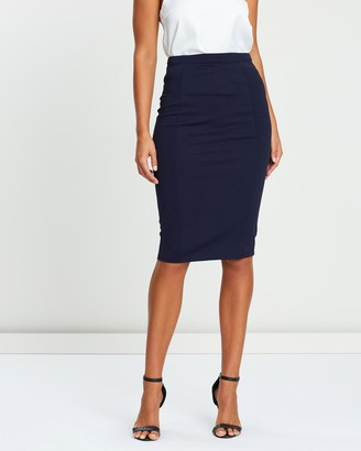 Atmos & Here Atmos&Here - Women's Blue Pencil skirts - Naomi Pencil Skirt - Size 6 at The Iconic