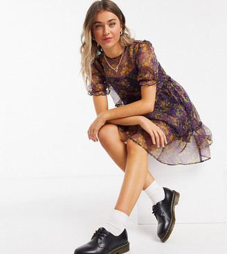 Wednesday's Girl mini smock dress with tiered skirt in ditsy floral organza