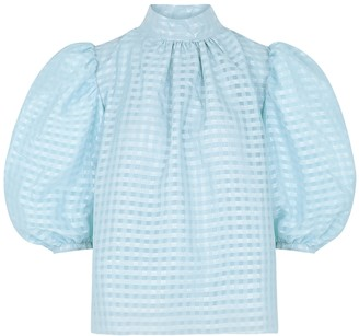 Stine Goya Birgitte blue checked top