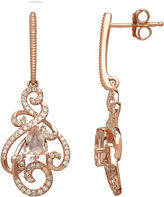 FINE JEWELRY Genuine Morganite and 1/3 CT. T.W. 10K Rose Gold Drop Earrings