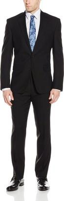 Kenneth Cole New York Men's Black Solid Slim Fit 2 Button Side Vent Suit